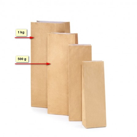 The bags nature kraft paper 500 and 1000g