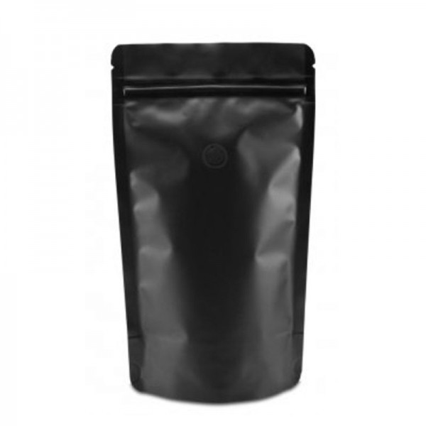 Doypack ZIP vrecko čierne matné s ventilom